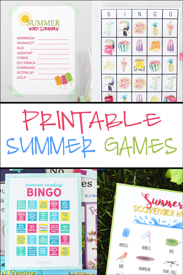 Printable Summer Games for Kids