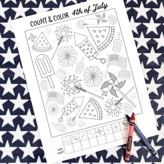 Count and Color 4th of July Printable