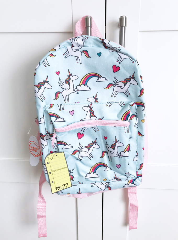 Unicorn backpack from Walmart