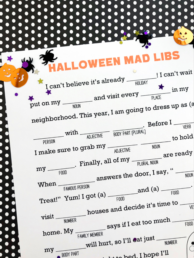 photograph relating to Printable Mad Libs Sheets for Adults named Halloween Ridiculous Libs Printable - My Sisters Suitcase