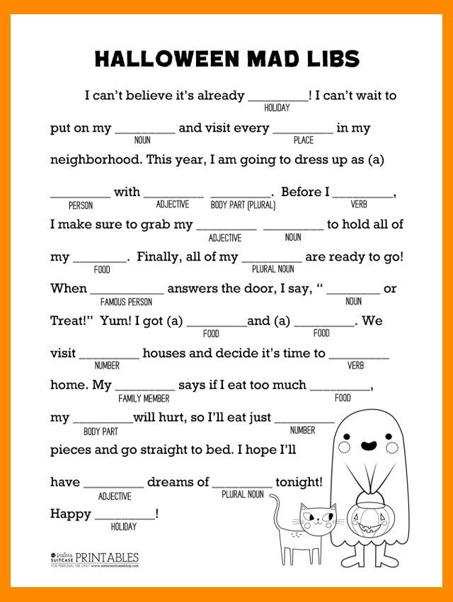 photograph about Printable Mad Libs Sheets for Adults titled Halloween Crazy Libs Printable - My Sisters Suitcase