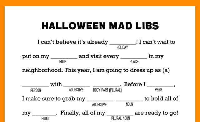 graphic relating to Printable Mad Libs Sheets for Adults known as Halloween Crazy Libs Printable - My Sisters Suitcase