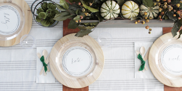 Disposable place settings for Thanksgiving Table