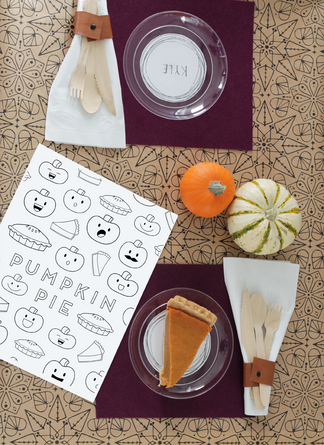 Kids Thanksgiving table and coloring page
