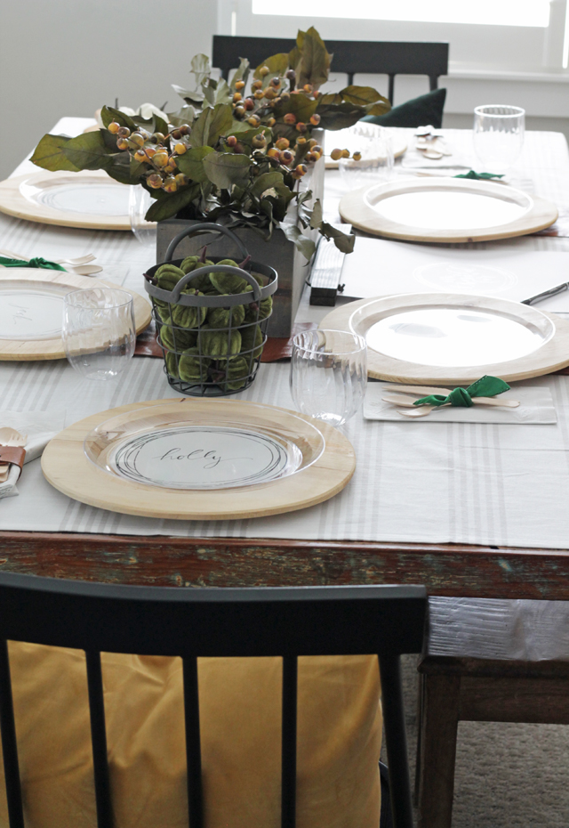 Mustard and green Thanksgiving table