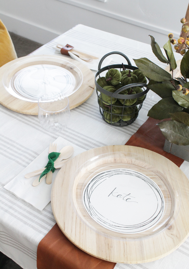 Thanksgiving table with plate namecards