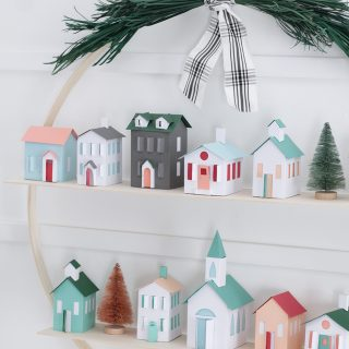 DIY Christmas Village Hoop Wreath