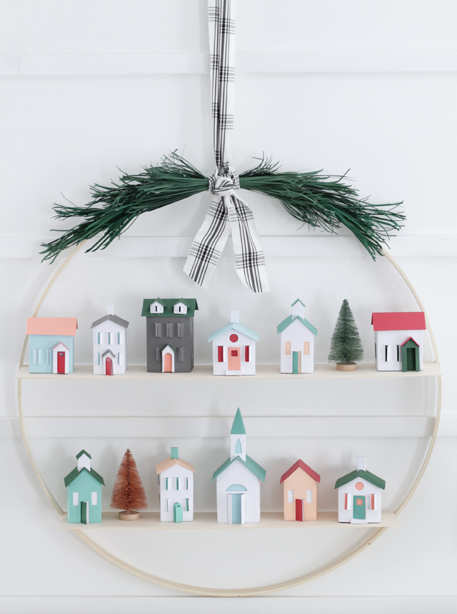 Christmas Village Hoop Wreath