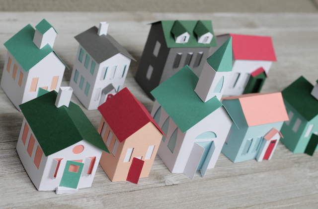 Completed paper houses for Christmas Village