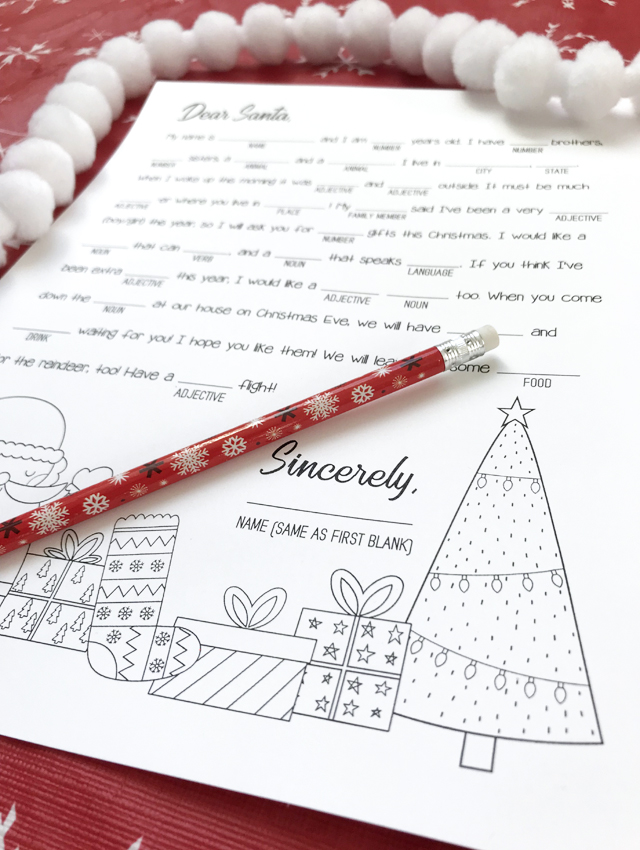 dear santa christmas mad libs