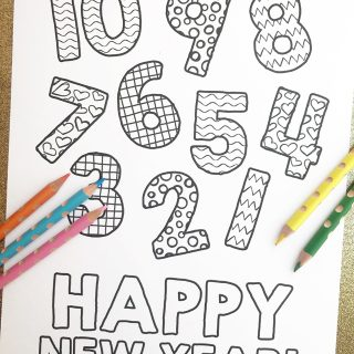 New Year's Eve Coloring Page Countdown