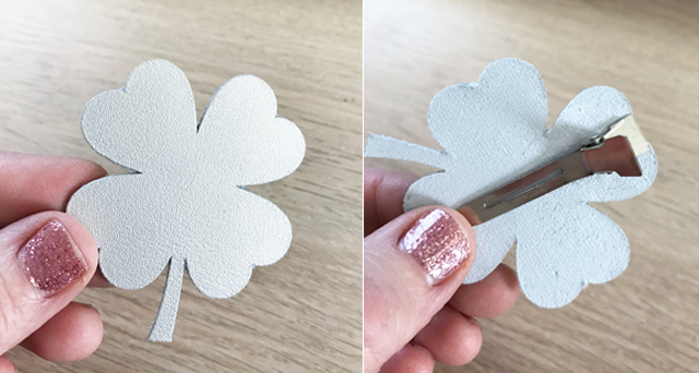 Metallic leather shamrock clip