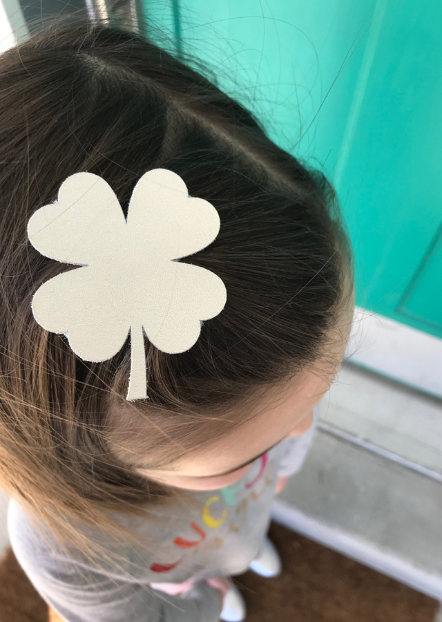 silver leather shamrock clip