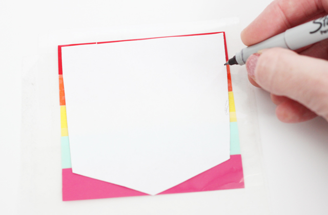 trace paper pattern onto vinyl then cut with scissors