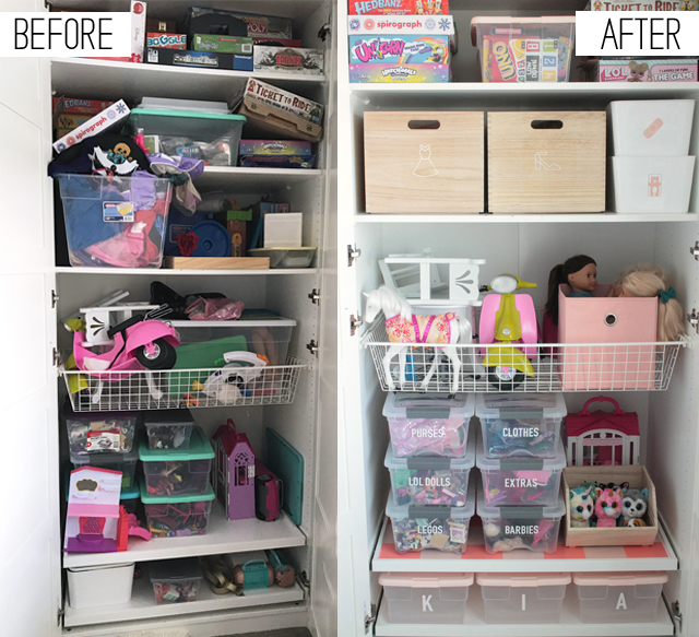 Before and After Kids Closet Organization