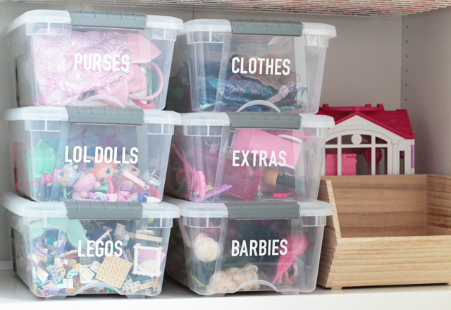 Toy organization bins with labels